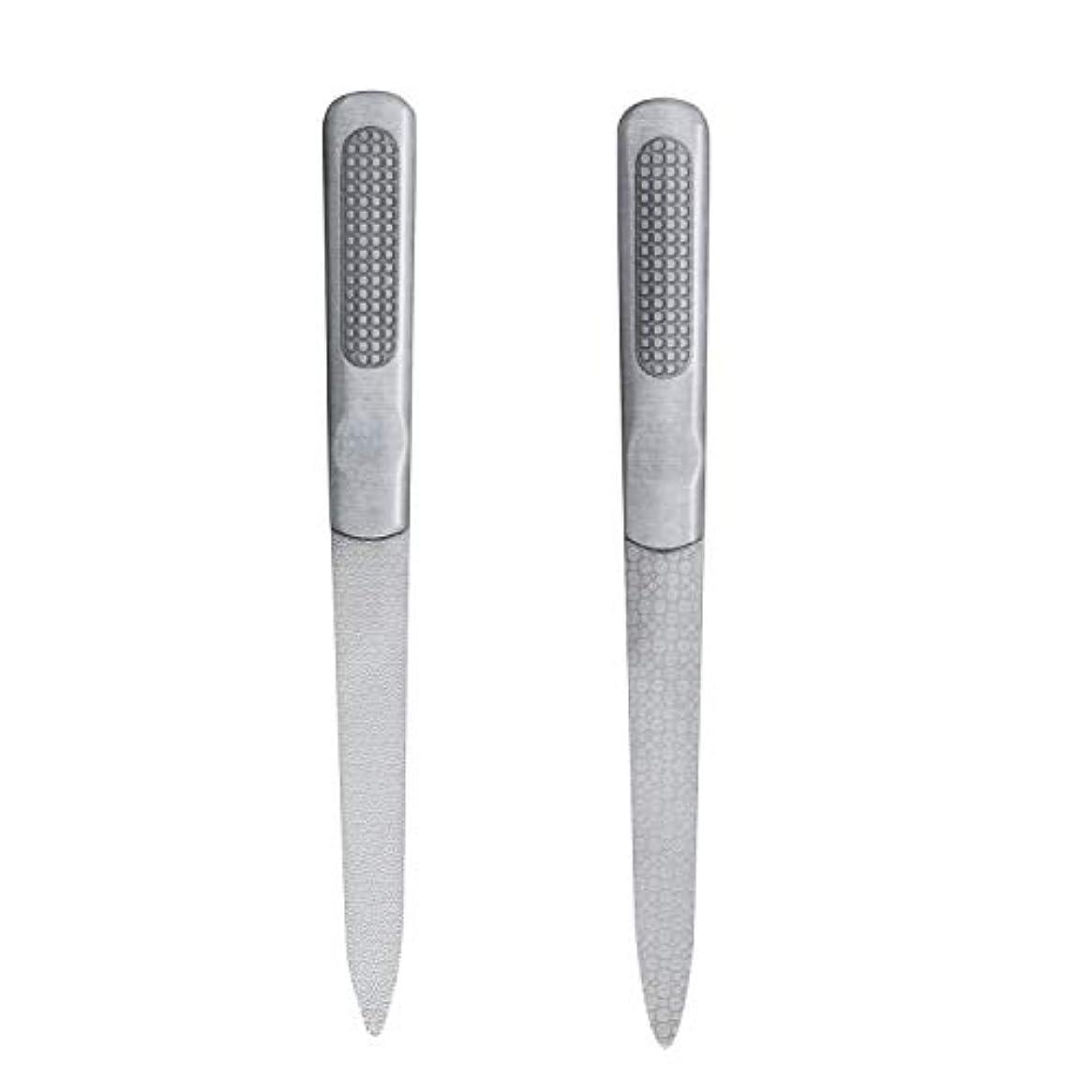 ネスト勝利必要CIPOW爪やすり 両面タイプ ステンレスつめ削り 滑り止めのハンドル 爪磨き 2セット
