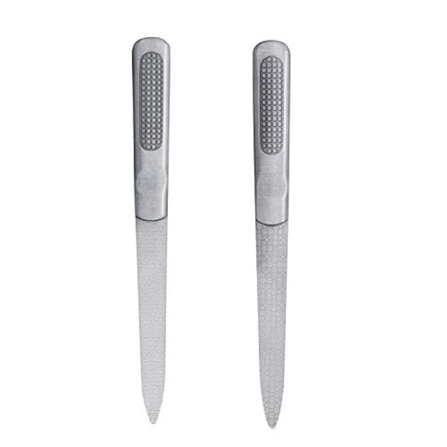 非常に正気精神CIPOW爪やすり 両面タイプ ステンレスつめ削り 滑り止めのハンドル 爪磨き 2セット