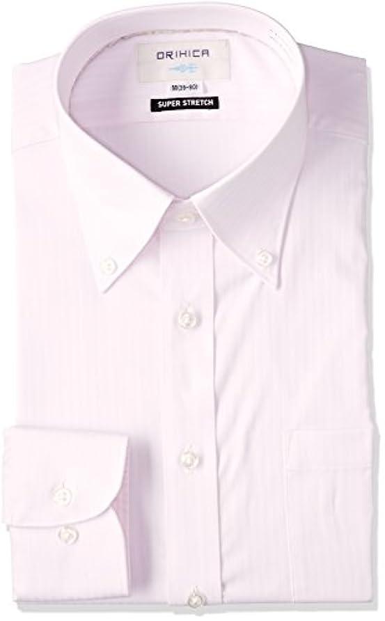 ロイヤリティ骨の折れるのスコア(オリヒカ) ORIHICA(オリヒカ) スーパーストレッチ ボタンダウンシャツ ピンク 織柄ストライプ衿内グレパイピ
