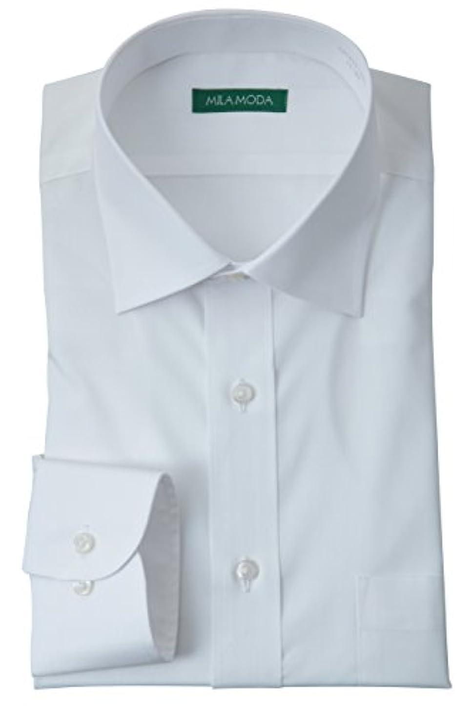 間違えた砲兵石【袖丈が選べる36サイズの品揃え】 洗える 形態安定加工 長袖 セミワイドカラー ワイシャツ ホワイト 無地