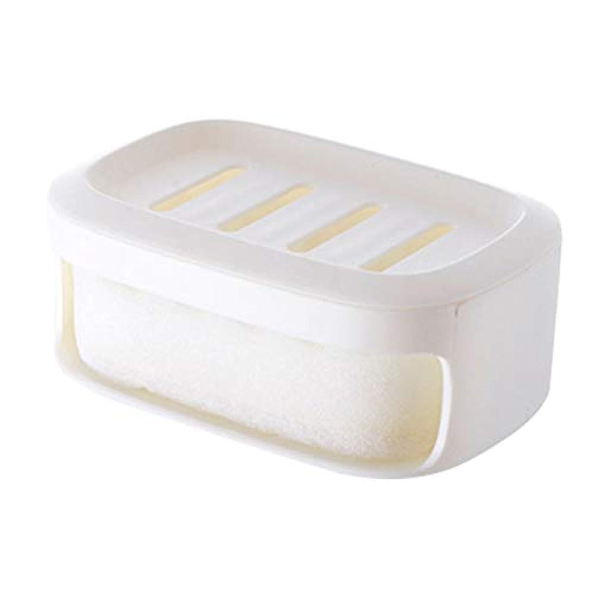 肥料ストッキング四回Healifty ソープボックス二重層防水シールソープコンテナバスルームソープ収納ケース(ホワイト)