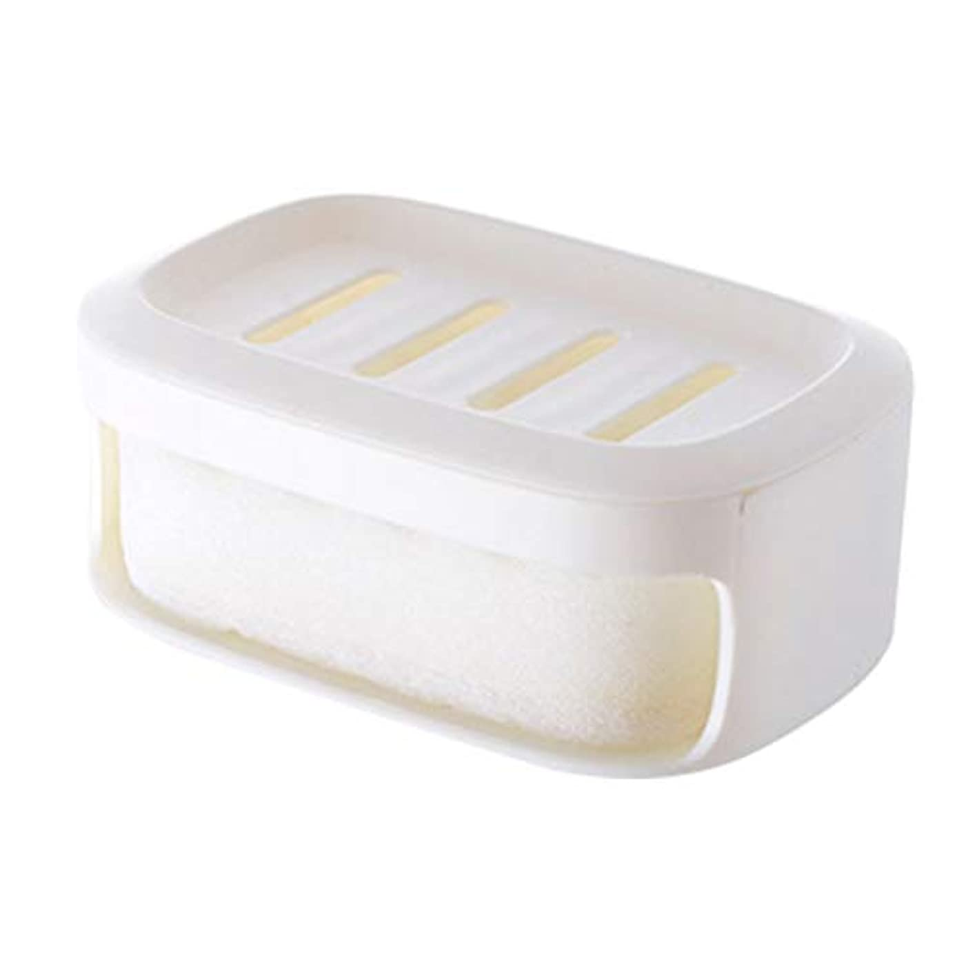 Healifty ソープボックス二重層防水シールソープコンテナバスルームソープ収納ケース(ホワイト)