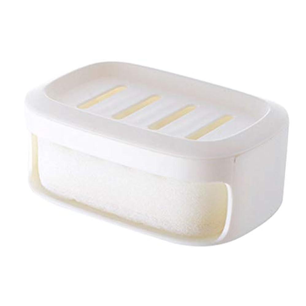 読みやすい麦芽偽造Healifty ソープボックス二重層防水シールソープコンテナバスルームソープ収納ケース(ホワイト)