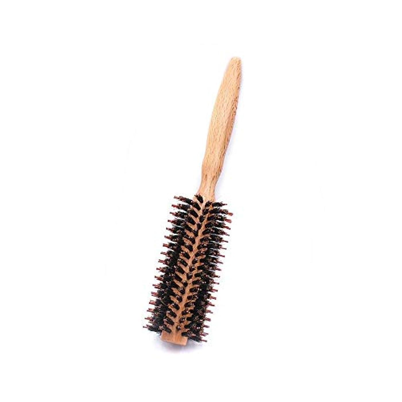効率的不良品くるくるラウンドスタイリングヘアブラシ - ナチュラル木製ハンドルの櫛でドライヤー&カーリングロールヘアブラシフェラ ヘアケア (色 : M, サイズ : Straight)