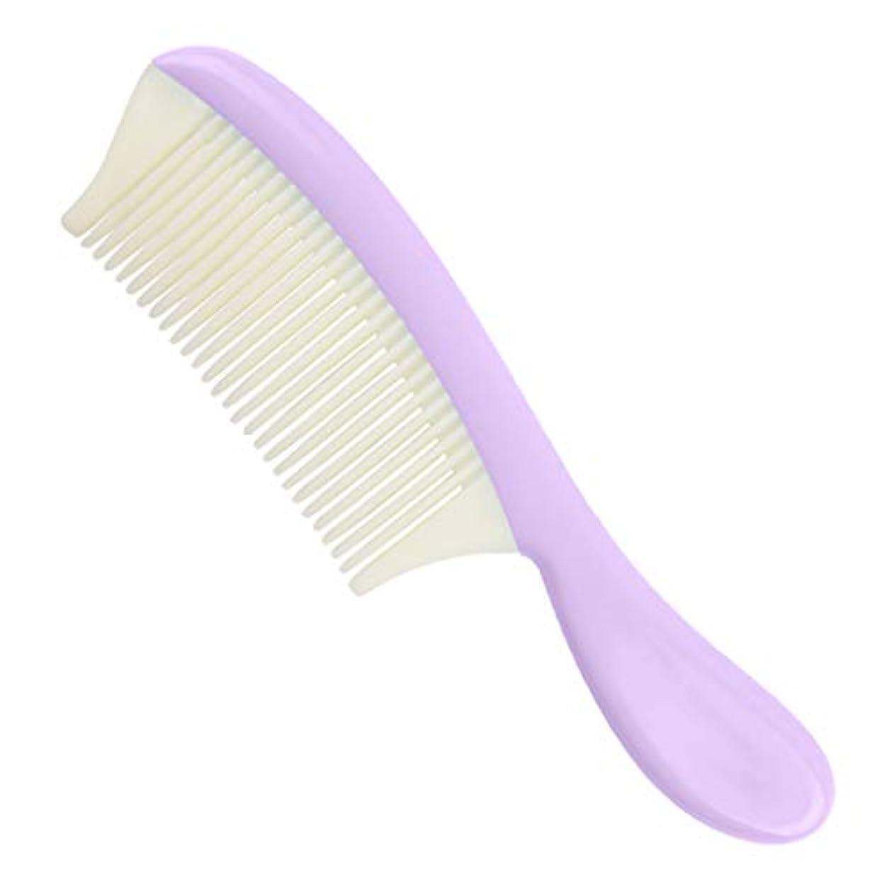 体操選手厚くする保護するヘアコーム 取り外し可能 細かい歯 ヘアブラシ 髪の櫛 全4色 - 紫