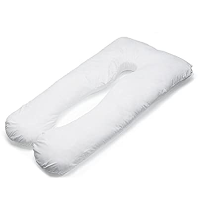 155x80cm U Shaped Oversized Maternity Pillow, Comfy Pregnancy Pillow / Luxury Total Body Pillow for Mommies Side Sleepers – Contoured Nursing Support Cushion w/ Zipper Removable Cotton Cover - Ivory White