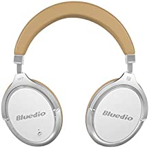 Bluedio F2 Bluetooth Headphones Active Noise Cancelling with Mic , Over Ear Wired and Wireless Headsets with Powerful Bass for Cell Phone/ PC/Travelling/gift ,(White)