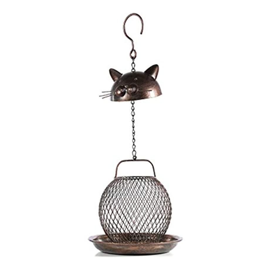 チロ改革撃退するバードフィーダー 屋外でぶら下がっている装飾的な鳥のテーブルを自由に立って素敵な猫の形の金属の鳥の送り装置多目的簡単にきれいに庭の小屋の鳥の送り装置 (色 : 真鍮, サイズ : Free size)