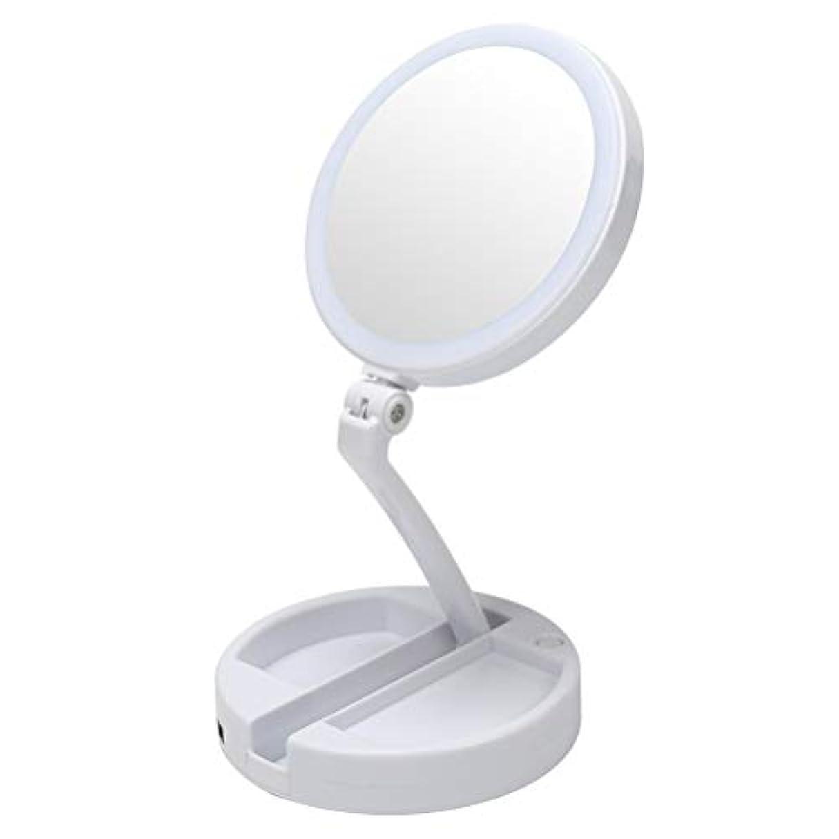 拒絶夜間有効化化粧鏡 LEDライト付き 等倍と10倍の拡大鏡付き 折りたたみ式 電池&USB充電 角度調節が可能 無段階調光 コンパクト 卓上ミラー 小物置き付き