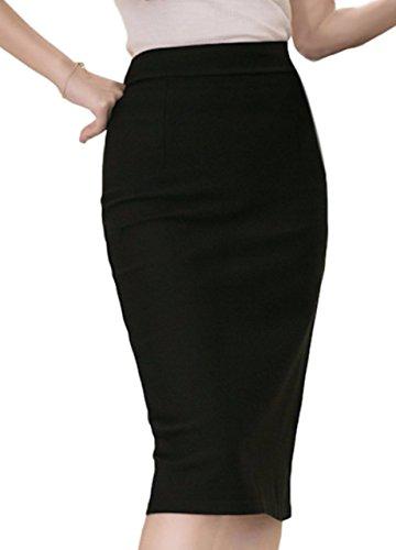 (ハベリィ)Haberry シンプル タイト ペンシル スカートひざ下丈 スリット レディース (XL, ブラック)