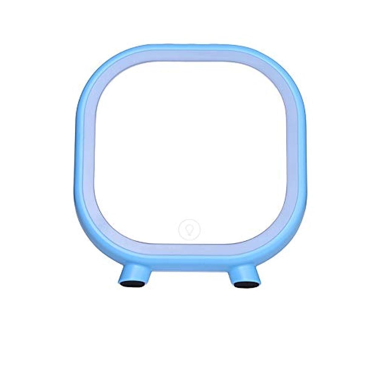 爆弾船尾砂漠流行の 創造的なLEDの薄いピンク/青い正方形のブルートゥースのスピーカーの化粧台/化粧鏡 (色 : Blue)