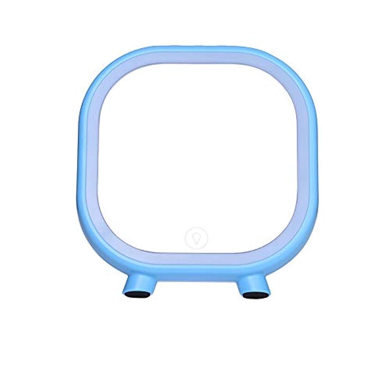発信うなり声円形流行の 創造的なLEDの薄いピンク/青い正方形のブルートゥースのスピーカーの化粧台/化粧鏡 (色 : Blue)