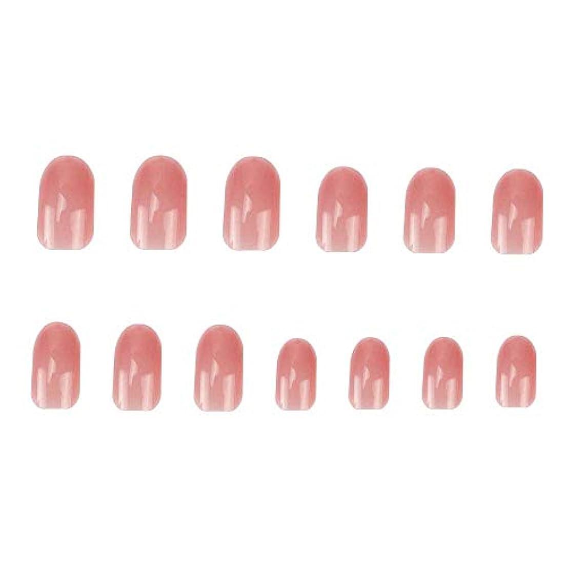 パネル腸スライス無地ゼリー ピンク 可愛い ウェディング ブライダル 優雅24枚短いネイルチップ