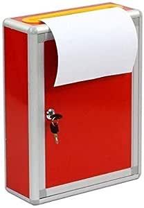 壁掛け式ロック付きスチールスクエアレター郵便ポスト-赤