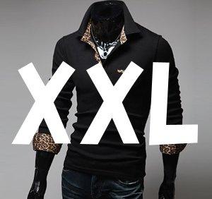 (メイク トゥ ビー) Make 2 Be レオパード 柄 長袖 カジュアル シャツ 豹 柄 ポロシャツ MF08 (Black_XXL)