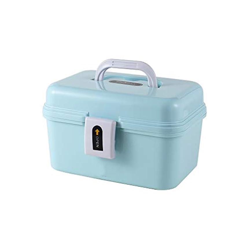 メロドラマティック確かめるマウントバンク家庭用薬箱ポータブル救急箱二層医療箱プラスチック薬品収納箱21×13.5×14cm AMINIY (Color : Blue)