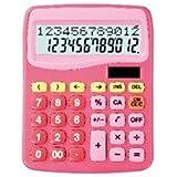 スクール電卓計算式表示電卓12桁ピンク