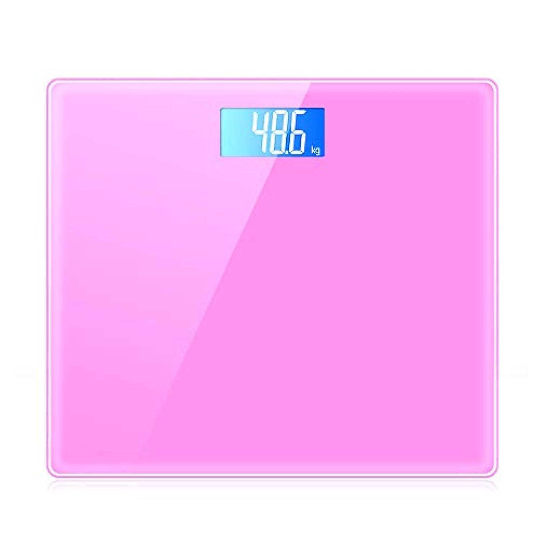 XF 体重計?体脂肪計 体重計 - デジタル体重計高精度デジタルバスルーム体重計6 mm強化付き強化ガラス(ペダリング付き)自動校正および自動オン/オフテクノロジ150 kg 測定器 (色 : Pink)