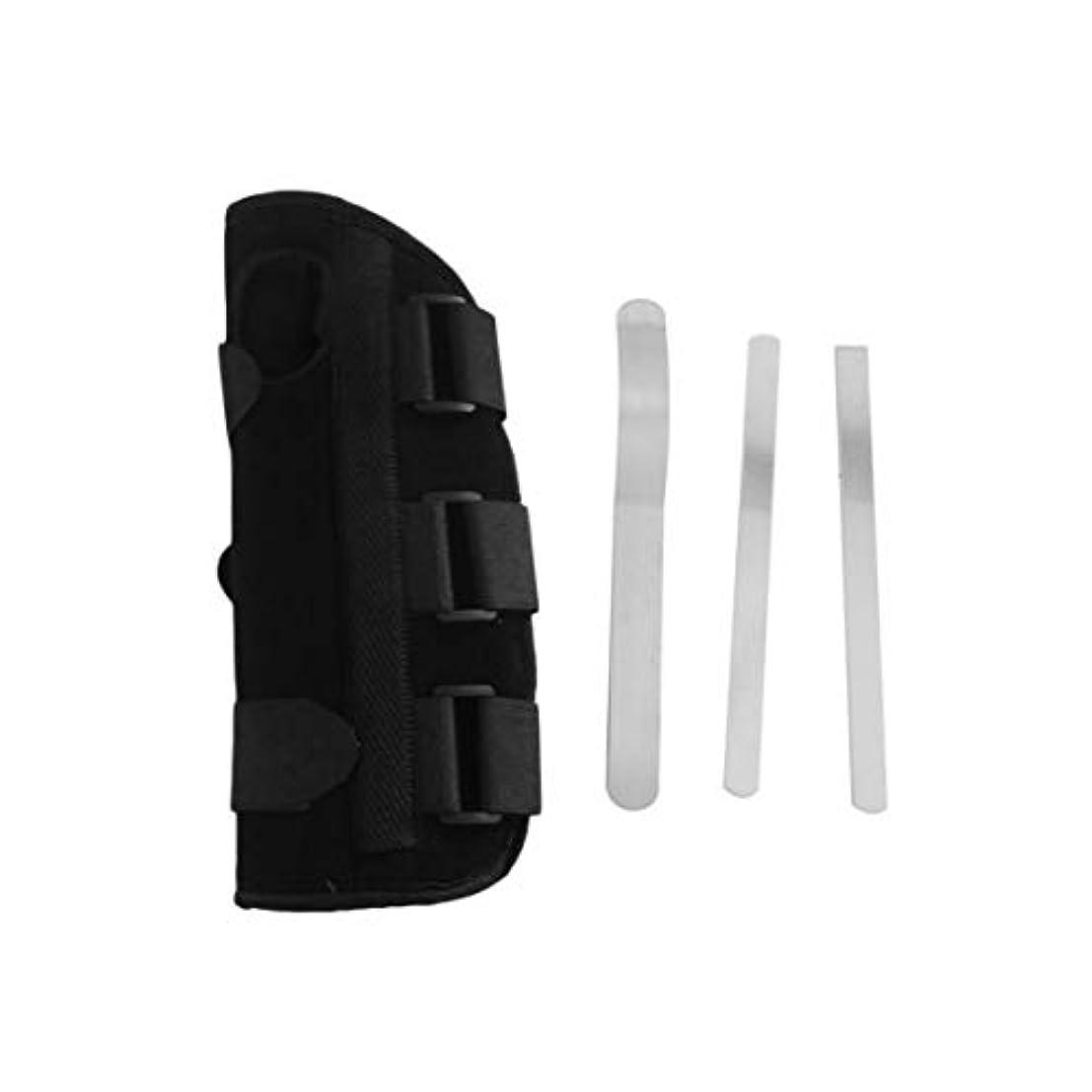 亜熱帯分布まだら手首副木ブレース保護サポートストラップカルペルトンネルCTS RSI痛み軽減取り外し可能な副木快適な軽量ストラップ - ブラックS