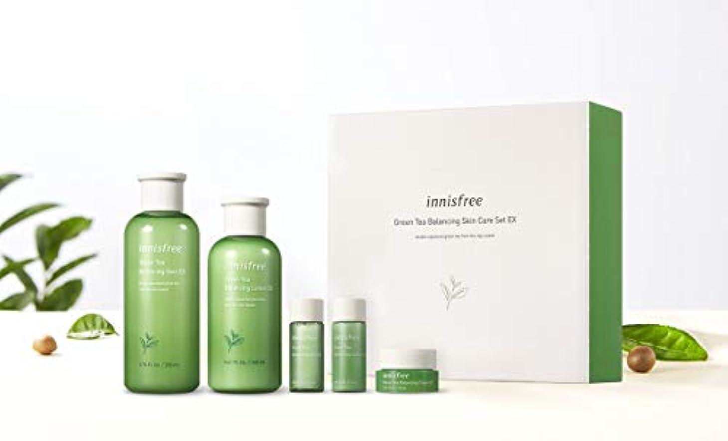 無力便利さピンクイニスフリーグリーンティーバランシングスキンケアセットの水分ケア韓国コスメ、innisfree Green Tea Balancing Skin Care Set Korean Cosmetics [並行輸入品]