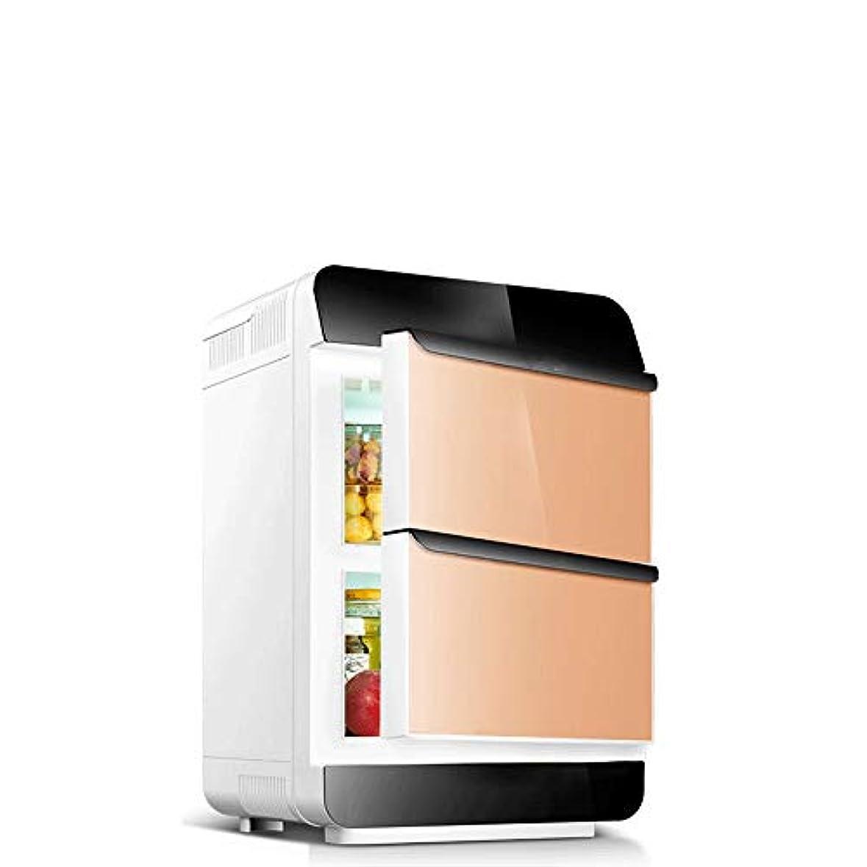 溶接分配します古風な車の冷蔵庫、 25 Ltresワインクーラー冷蔵庫ダブルドア冷蔵庫ポータブルミニ冷蔵庫 旅行にとても便利 (Color : Gold, Size : 34X34X54CM)