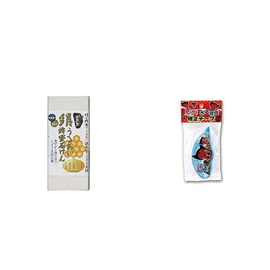 ボーナス不透明なプレート[2点セット] ひのき炭黒泉 絹うるおい蜂蜜石けん(75g×2)?さるぼぼ 修正テープ【ピンク】