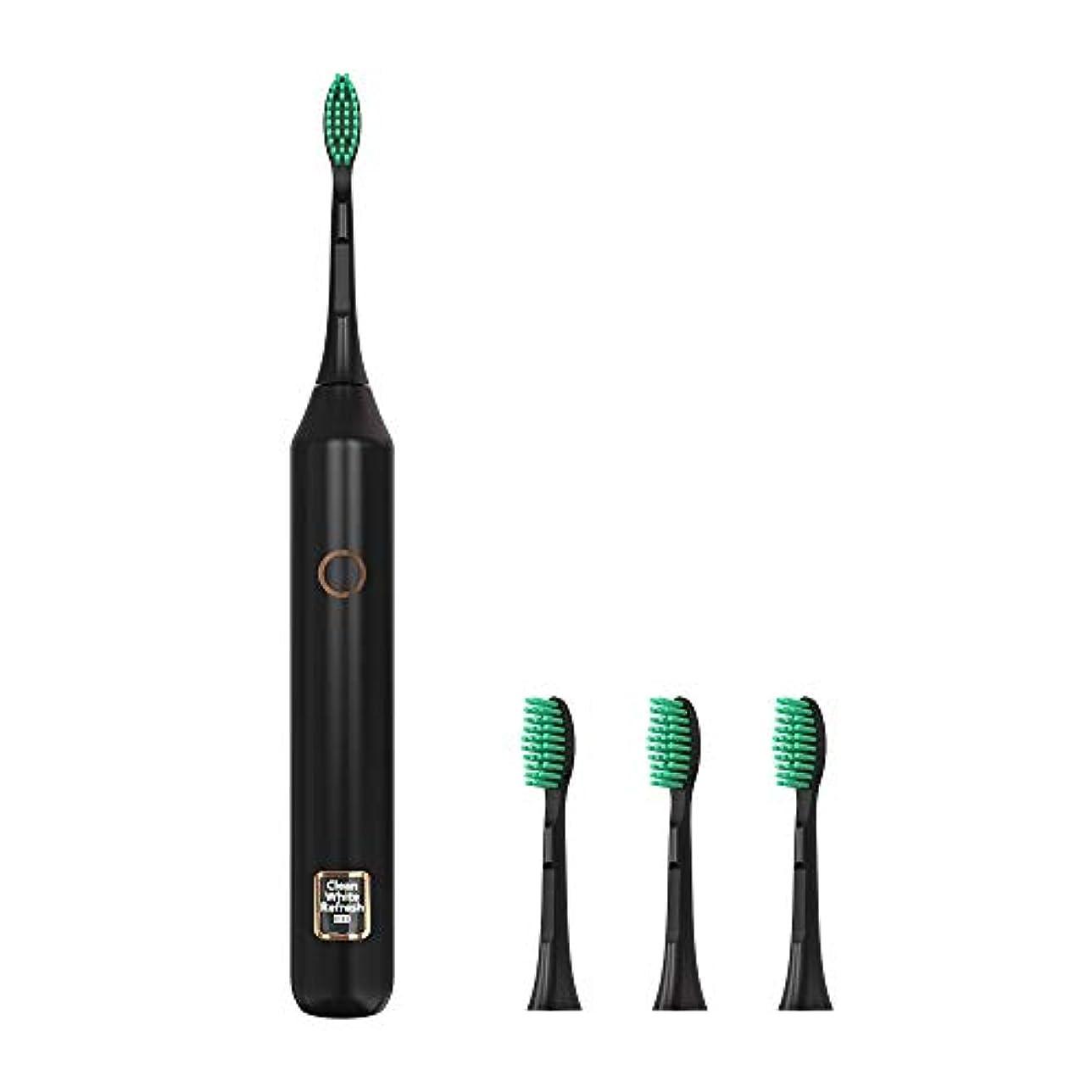 ピストルクラックポット含めるソニックウェーブ電動歯ブラシUSB充電式歯ホワイトニングブラシ3モードIPX7防水歯ブラシ2分タイマー,黒,4heads