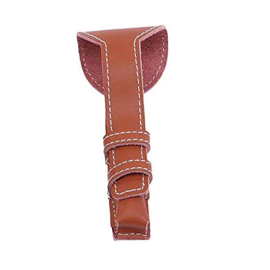縫う有限まどろみのあるWEIHEEシェーバーカバーダブルエッジ安全かみそり保護カバーシェービングポーチホルダーバッグトラベルケースブラウン