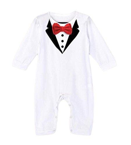 525708b47869c (ビグッド)Bigood ベビー 赤ちゃん ジャンプスーツ 男の子 カバーオール ロンパース タキシード風 出産祝い プレゼント(ホワイト・80)  ベビーの可愛さをより引き ...