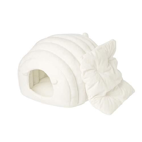 pidan 猫ハウス ドーム型 猫ベッド ペット ベッド 冬用 猫 犬 もこもこ 柔らかい ベ ッド クッション あったか ふわふわ 可愛いシープ造形 暖かい休憩所 (ホワイト)