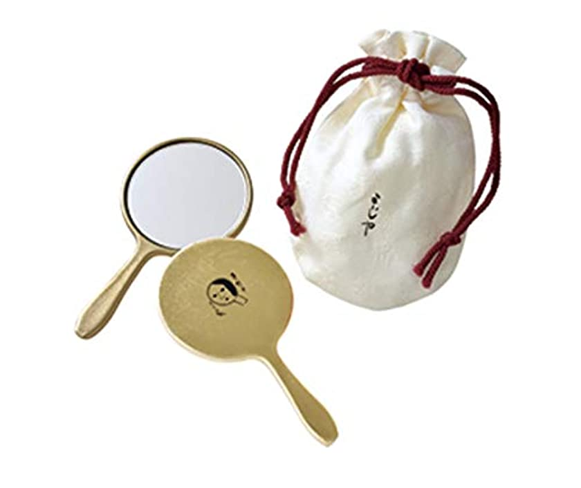 師匠リテラシー肉よーじや 丸手鏡(金箔貼り/巾着つき)