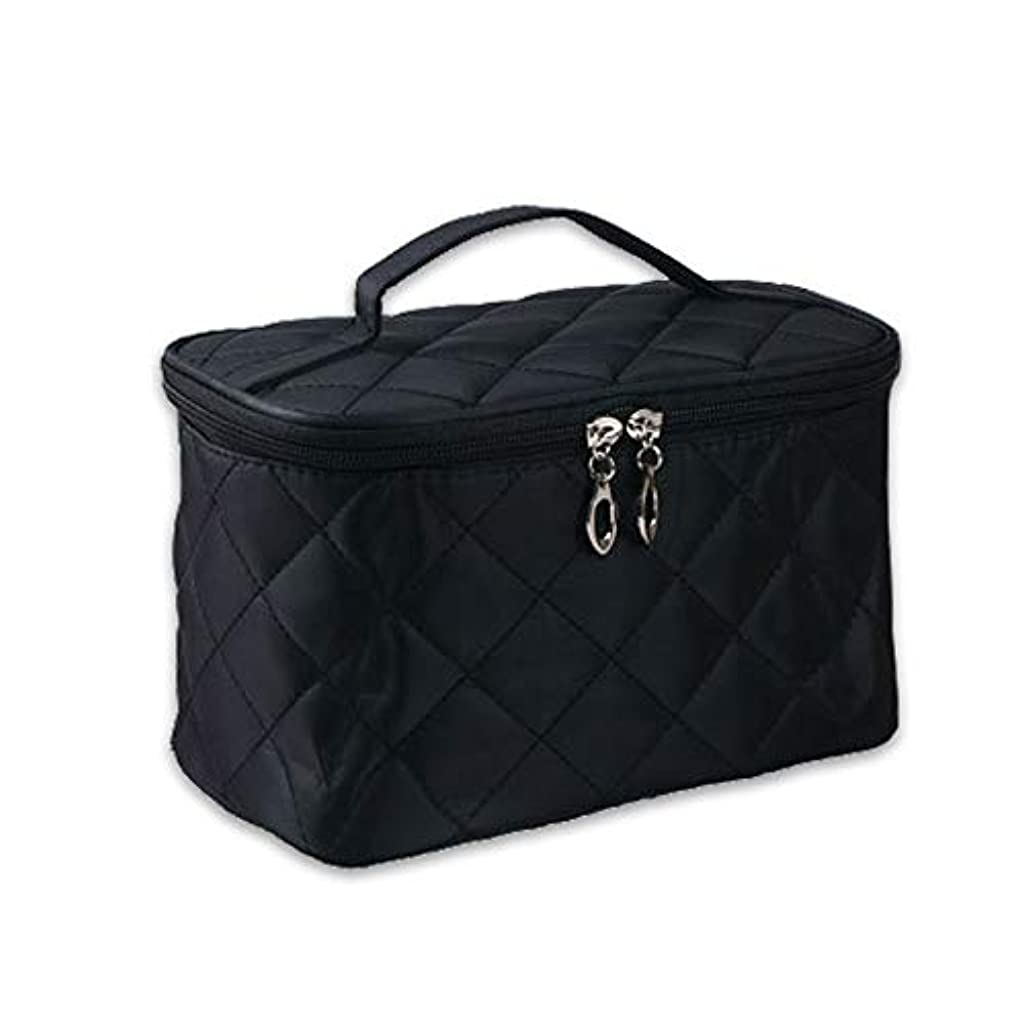 慢検出可能敷居女性 化粧品メイクバッグ 収納オーガナイザーバッグ 剤洗浄ツール フォールド ジッパーデザイン ナイロン ブラック