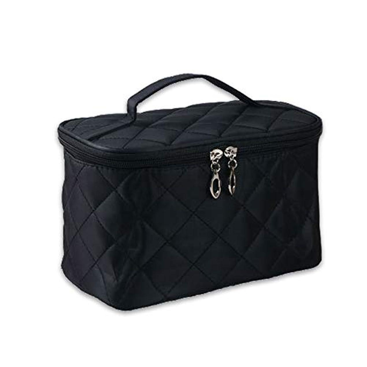 化粧反対するジレンマ女性 化粧品メイクバッグ 収納オーガナイザーバッグ 剤洗浄ツール フォールド ジッパーデザイン ナイロン ブラック