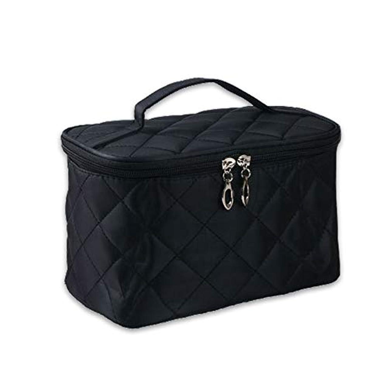 タイプライター明るくする寮女性 化粧品メイクバッグ 収納オーガナイザーバッグ 剤洗浄ツール フォールド ジッパーデザイン ナイロン ブラック