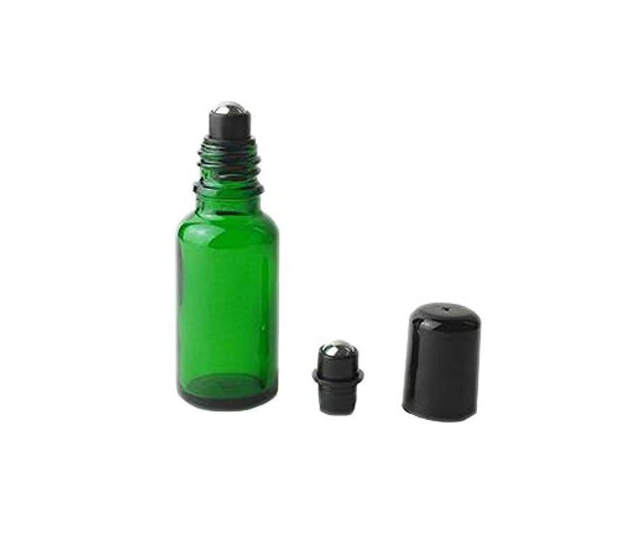女王ドール米国空詰め替え可能4個グリーンガラスメタルローラーボールボトルFragrance Perfume化粧品サンプルRoll On Bottles OilsローラーBottles withブラックキャップ 20ml グリーン