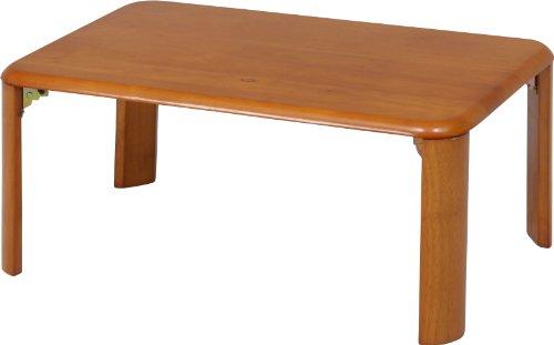 不二貿易 折脚ローテーブル 幅75×奥行50×高さ32cm ブラウン 40138