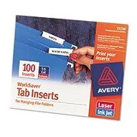 Avery AVE11136 Avery Laser/Inkjet Inserts for Hanging File Folders 1/5 Tab 2 in White 100/Pack PK - AVE11136