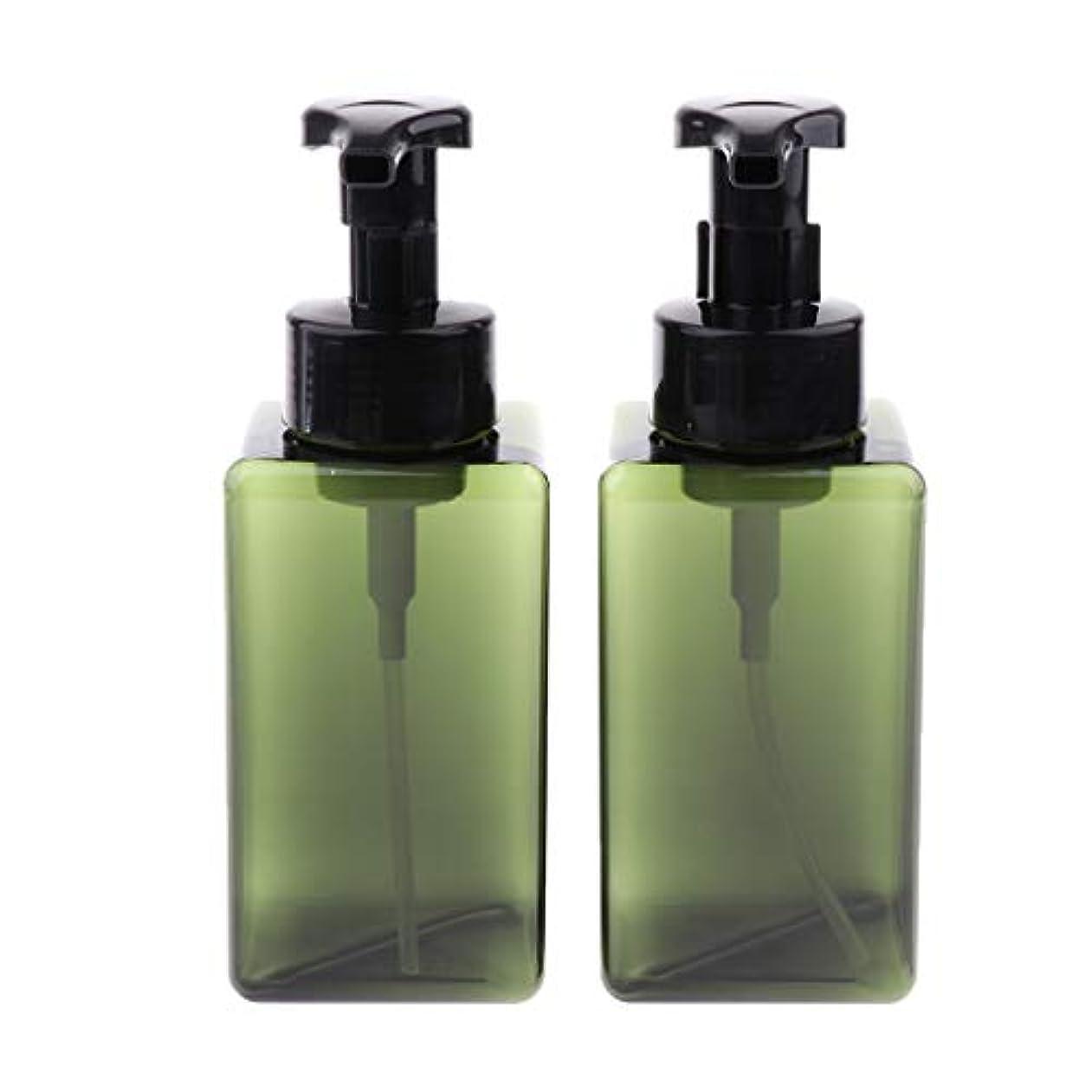 レビュアー疎外する口頭ディスペンサーボトル 泡 スクエア 詰め替え ポンプボトル 乳液 液体容器 携帯便利 450ml 全6色 - 緑