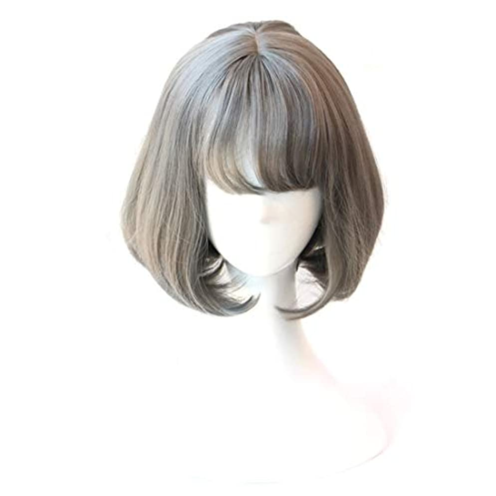 フルート進化場所YOUQIU 女の子のかつら用ウィッグエア前髪ショートヘアウィッグBOB (色 : Grandma ash)