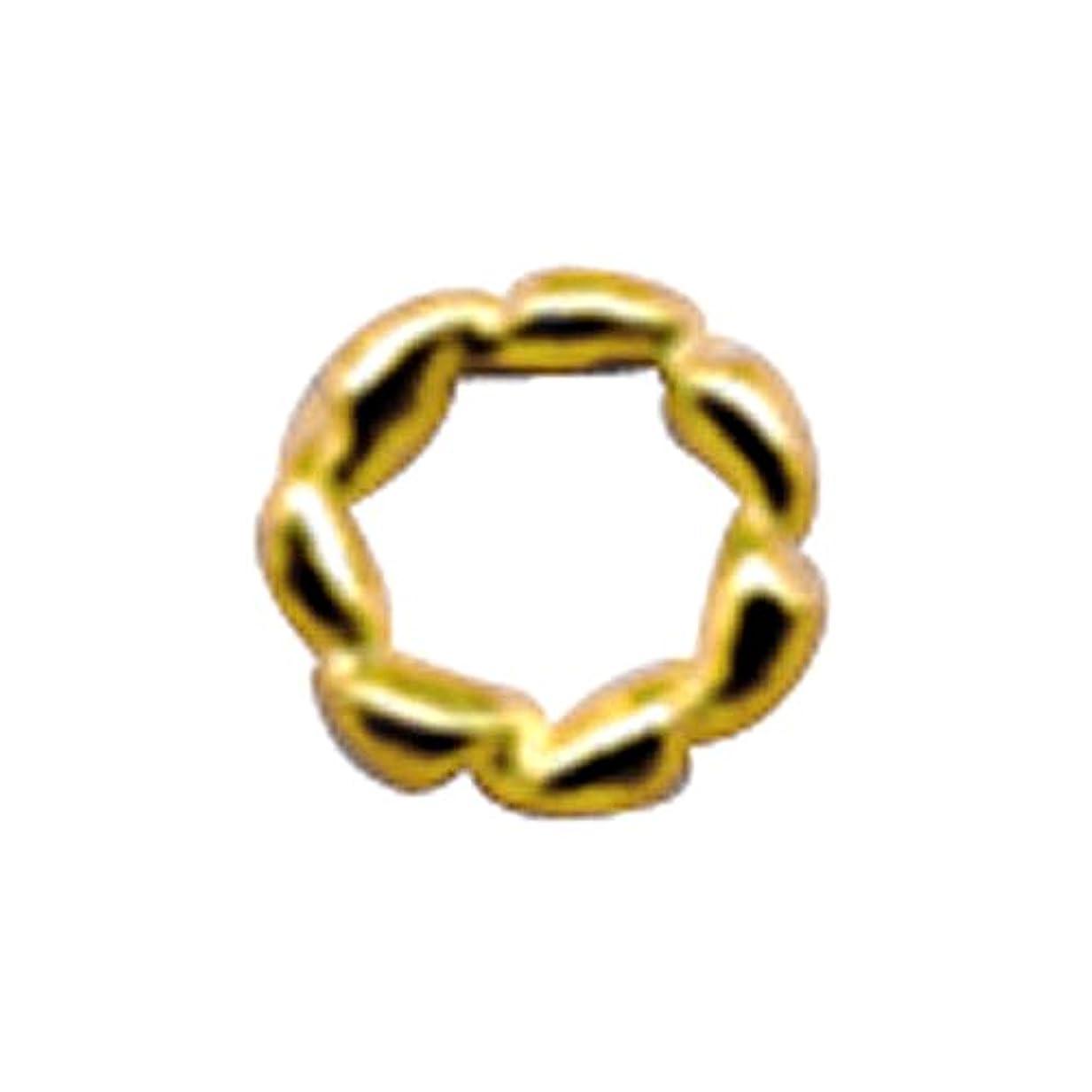 窒素ログ本能プリティーネイル ネイルアートパーツ ツイストリングS ゴールド 15個