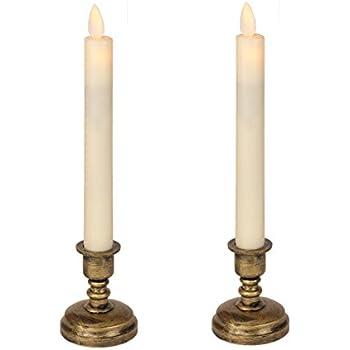 <スティックタイプ> Exclusif LEDキャンドル 揺らぐ炎 燭台付き2本セット リモコンでラクラク 操作Moving LED Candle