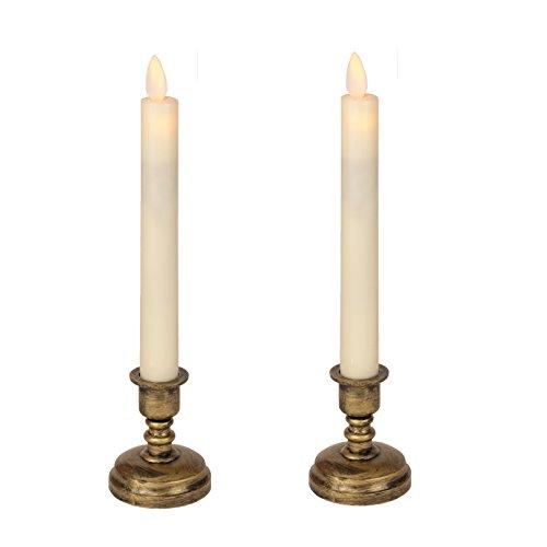 RoomClip商品情報 - <スティックタイプ> Exclusif LEDキャンドル 揺らぐ炎 燭台付き2本セット リモコンでラクラク 操作Moving LED Candle
