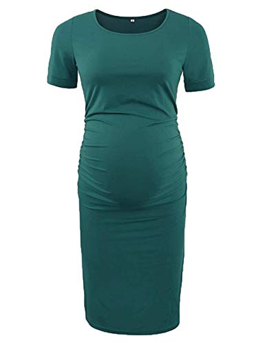 Oklan Bodycon Maternity Dress Casual Pregnancy Clothes Cotton Ruched Sides Dress Casual Short & 3/4 Sleeve Dress - Green - Medium