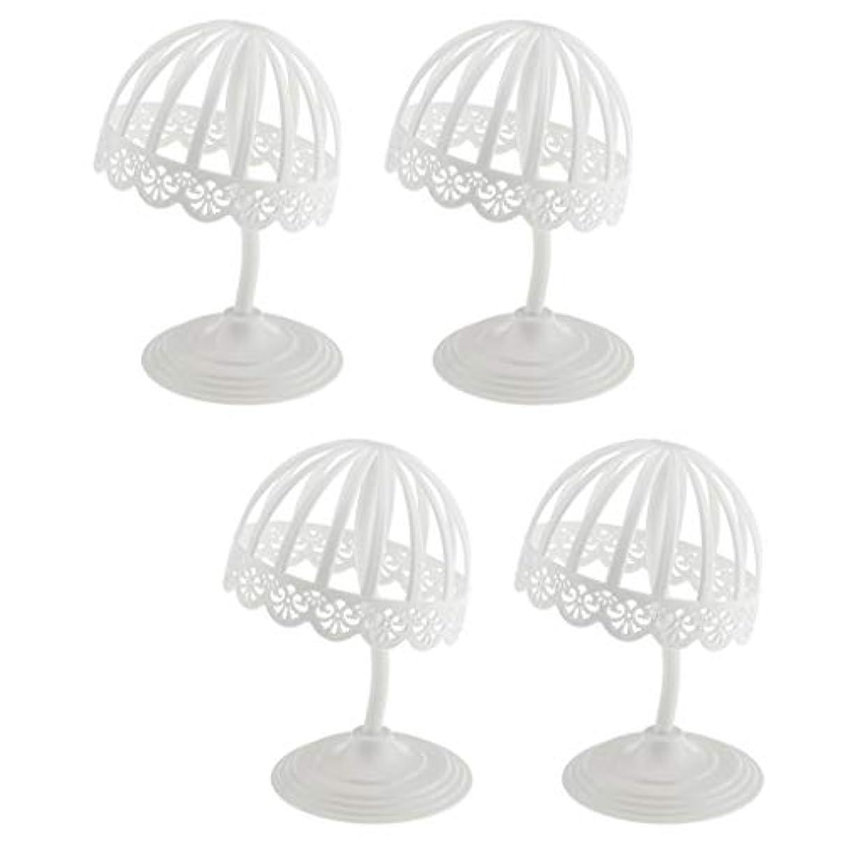 期待泥品揃えSM SunniMix ウィッグ スタンド 帽子 収納 ディスプレイ 4個セット プラスチック製 ホワイト