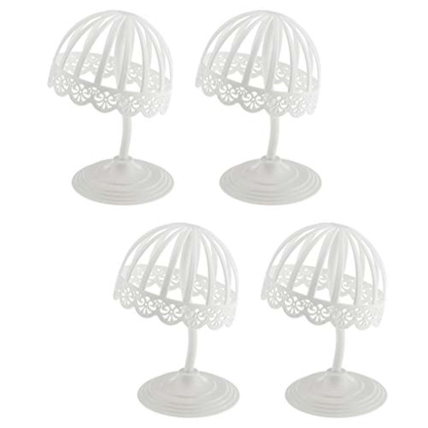 統計的ビル賢いSM SunniMix ウィッグ スタンド 帽子 収納 ディスプレイ 4個セット プラスチック製 ホワイト