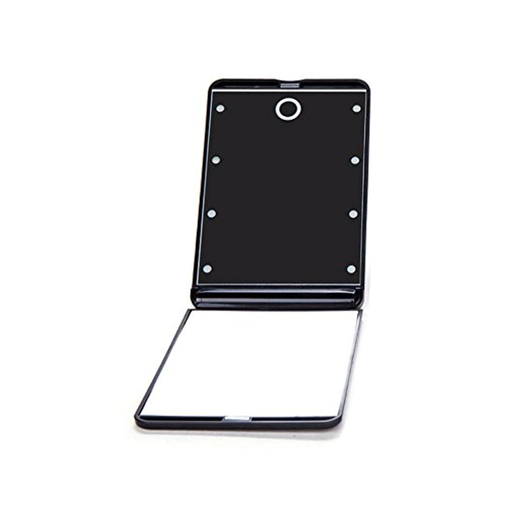 認識甘やかすささいなledミラー 折りたたみ式 メイクミラー LEDライト 角度/明るさ調整 コンパクト 化粧鏡 二面鏡 ミラー 2倍拡大鏡付 8灯手鏡 ブラック