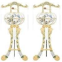 霊前灯 猫足 3号 木肌 1対(2台1組) 高さ約96cm 廻転筒付 日本製 行灯 盆提灯 八女提灯