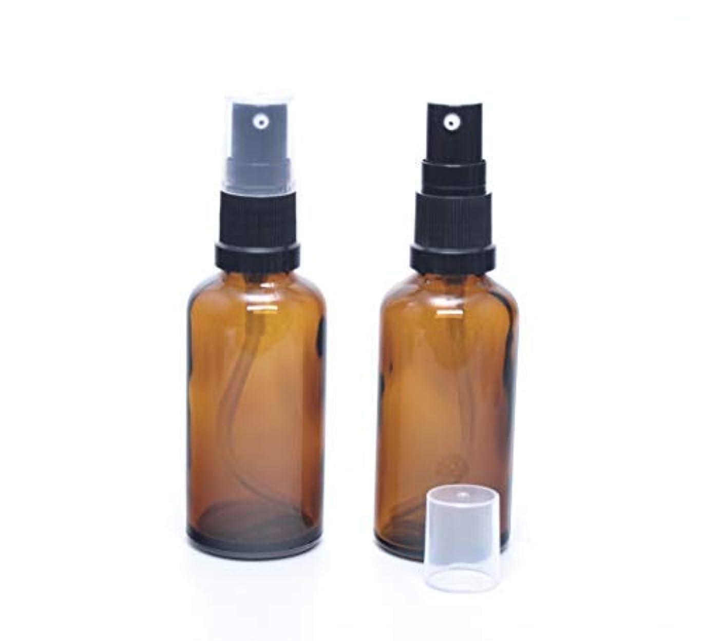 熟達した負担世界的に遮光瓶 (硝子)ポンプボトル 50ml (フィンガープッシュタイプ) / アンバー × 2本セット