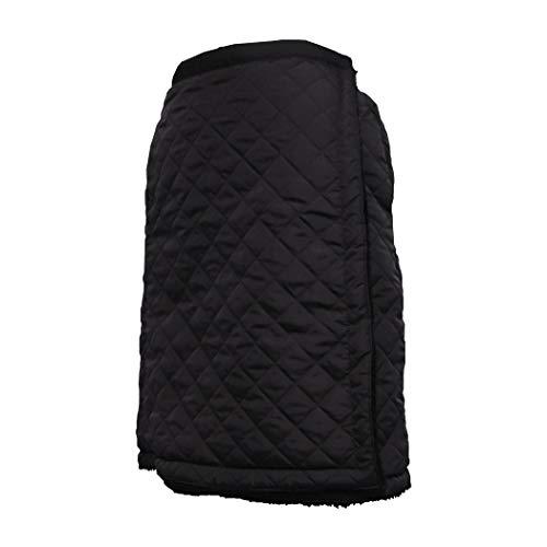 裏起毛 キルティング 巻きスカート ミディアム丈 (ブラック, LL)