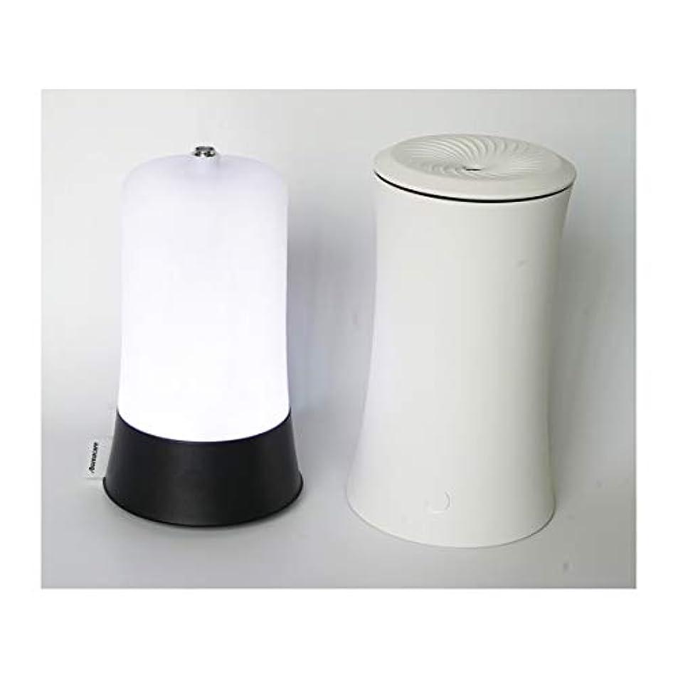 アクセント全く不実ウッドグレイン超音波アロマクールミスト300mlエッセンシャルオイルディフューザー、アロマ加湿器付き、水なしオートシャットオフ、7色LEDライトホームオフィス用ベビーホワイト